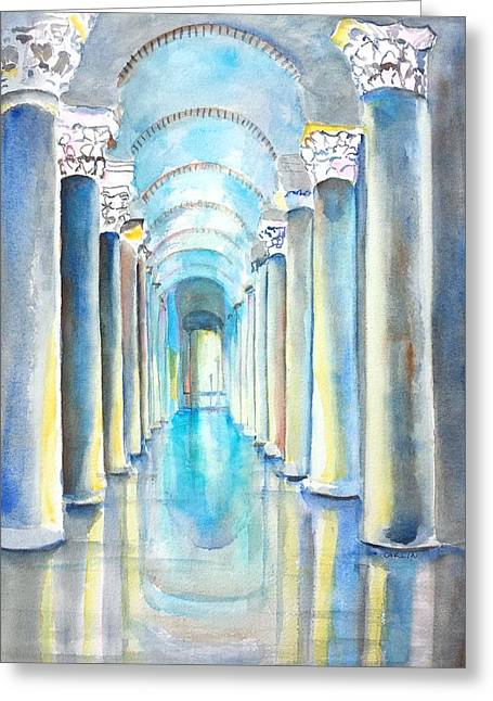 Basilica Cistern Istanbul Turkey Greeting Card