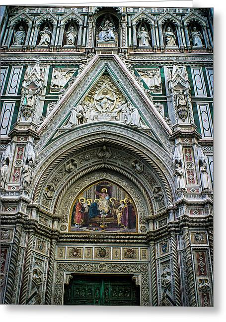 Basilica Di Santa Maria Del Fiore Florence Italy Color Enhanced Greeting Card by Karen Stephenson