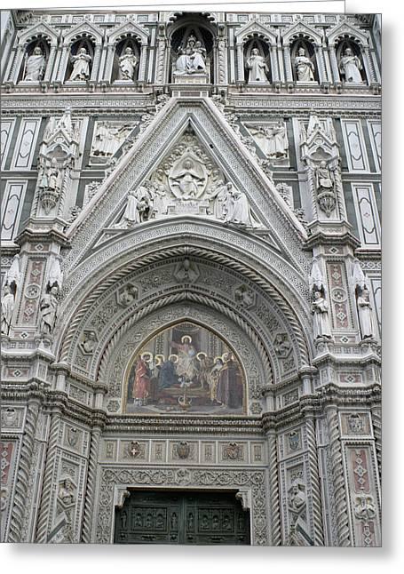 Basilica Di Santa Maria Del Fiore Florence Tuscany Italy Realistic Greeting Card by Karen Stephenson