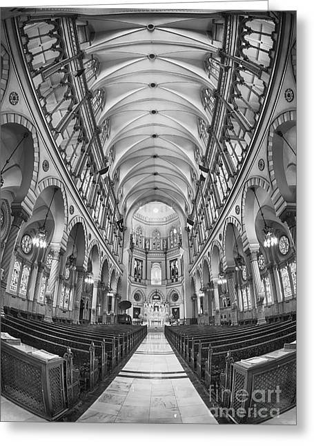 Basilica Of Saint Louis Black And White Greeting Card