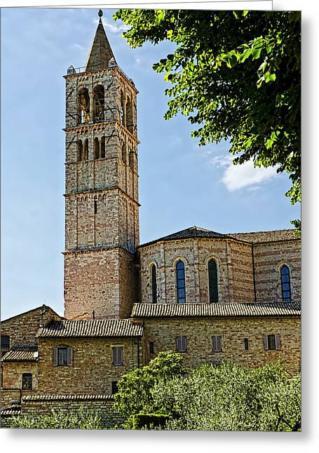 Basilica Of Santa Chiara - Assisi Italy Greeting Card by Jon Berghoff
