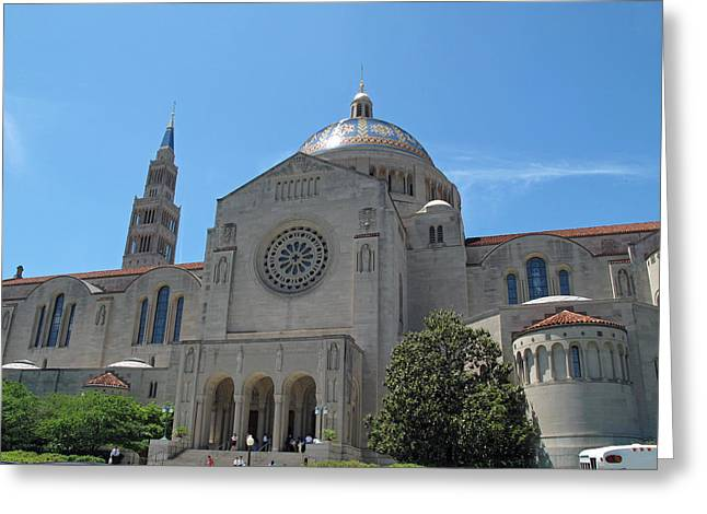 Basilica Of The National Shrine Greeting Card by Barbara McDevitt