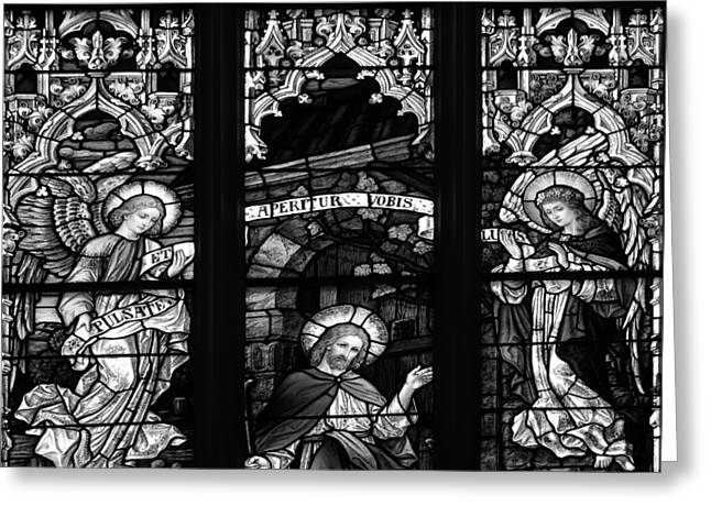 Basilica Stained Glass 1 Bw Greeting Card by Angelina Vick