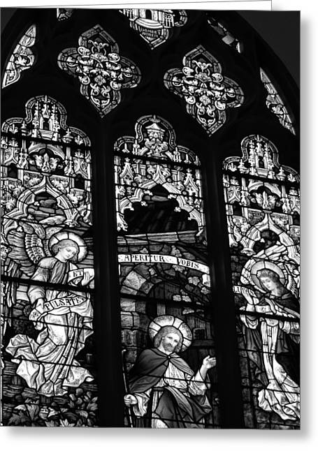 Basilica Stained Glass 2 Bw Greeting Card by Angelina Vick