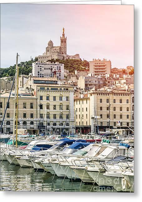 Basilique Notre-dame De La Garde From The Vieux Port Of Marseille Greeting Card by Pier Giorgio Mariani