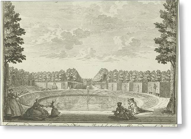 Basin In The Garden Of House Ter Meer In Maarssen Greeting Card by Hendrik De Leth