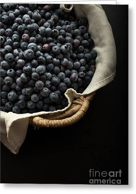 Basket Full Fresh Picked Blueberries Greeting Card by Edward Fielding