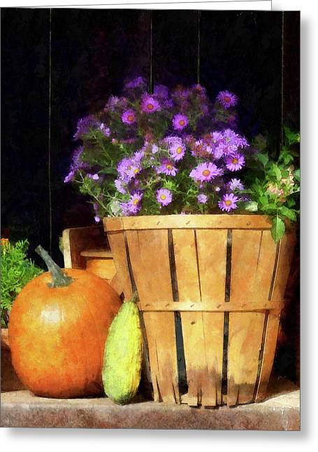 Basket Of Asters With Pumpkin And Gourd Greeting Card by Susan Savad