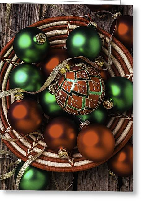 Basket Of Christmas Ornaments Greeting Card by Garry Gay