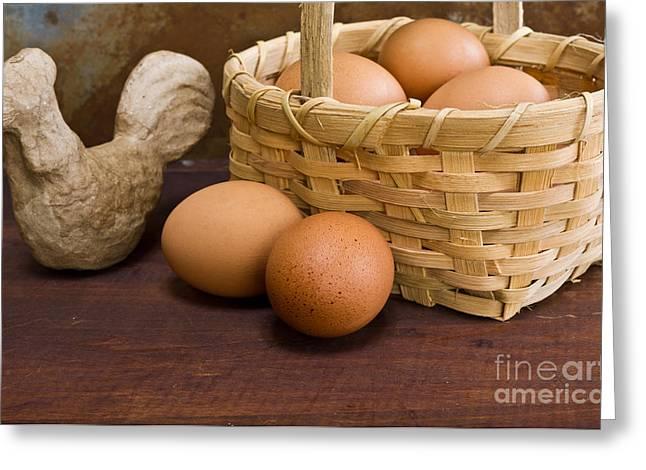 Basket Of Farm Fresh Eggs Greeting Card by Edward Fielding