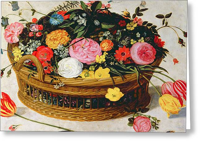 Basket Of Flowers  Greeting Card by Jan Brueghel