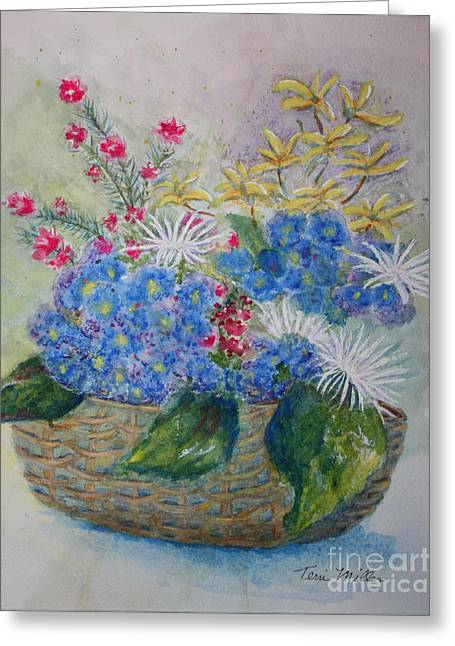 Basket Of Flowers Greeting Card by Terri Maddin-Miller