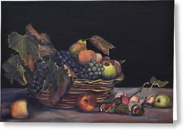 Basket Of Fruit Greeting Card by Donna Tuten
