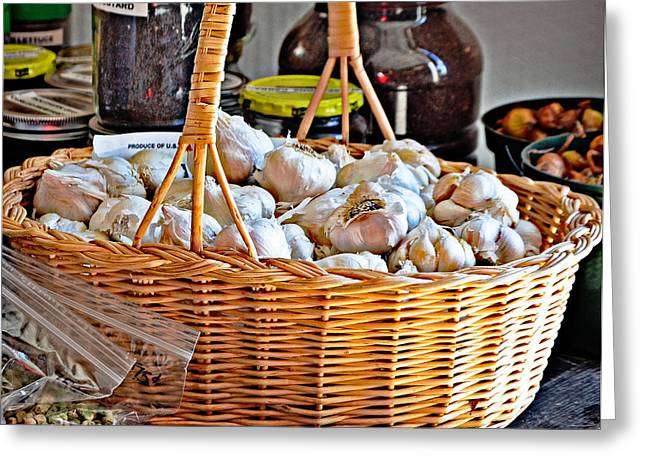 Basket Of Garlic Greeting Card