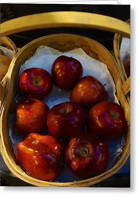 Basket Of Red Apples Greeting Card