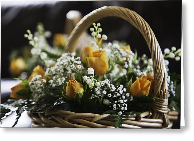 Basket Of Roses Greeting Card by Lesley Rigg