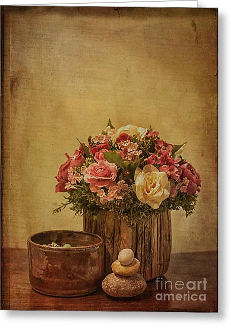 Basket Of Spring Roses Greeting Card