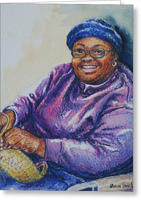 Basket Weaver In Blue Hat Greeting Card