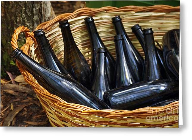 Basket With Bottles Greeting Card