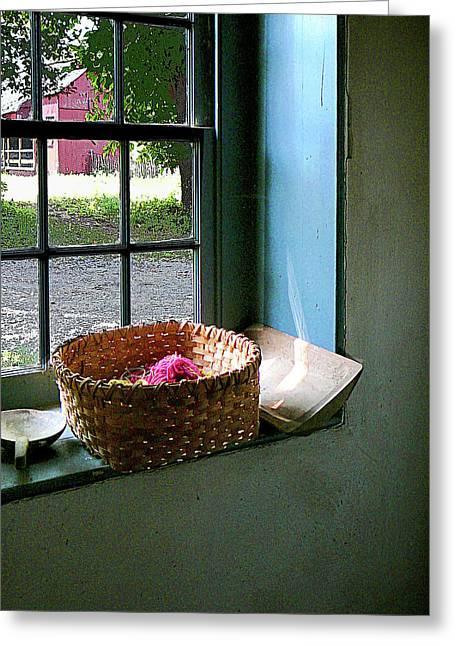 Basket With Yarn Greeting Card by Susan Savad