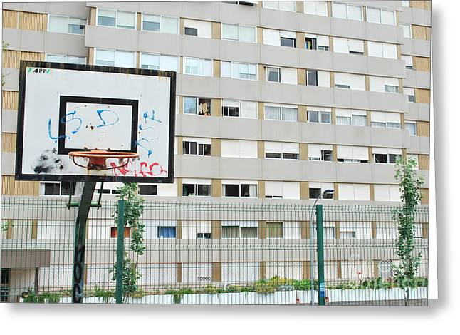 Basketball Court In A Social Neighbourhood Greeting Card by Luis Alvarenga