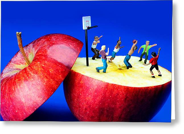 Basketball Games On The Apple Little People On Food Greeting Card