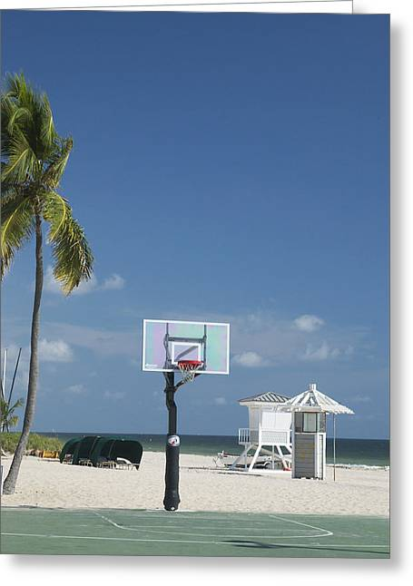 Greeting Card featuring the photograph Basketball Goal On The Beach by Bob Pardue