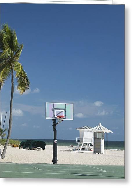 Basketball Goal On The Beach Greeting Card