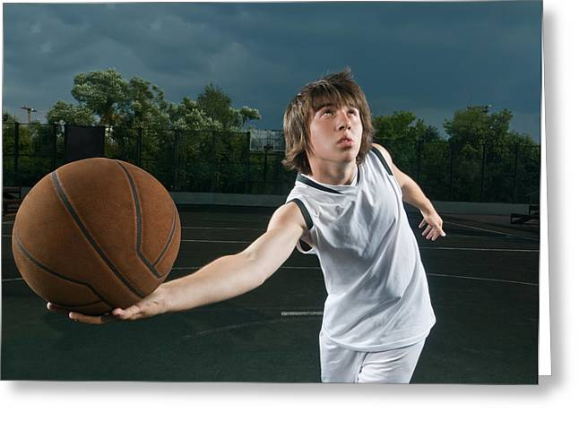 Basketball Player Attacking Greeting Card by Nikita Buida