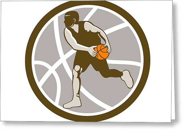 Basketball Player Dribbling Ball Circle Retro Greeting Card