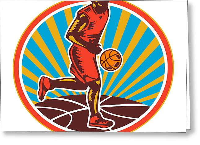 Basketball Player Dribbling Ball Woodcut Retro Greeting Card by Aloysius Patrimonio