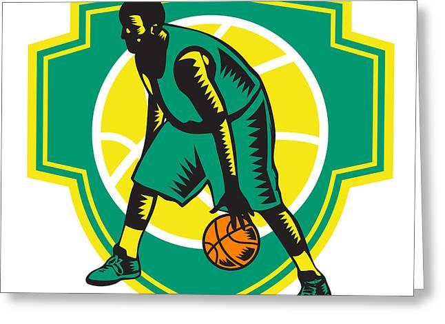 Basketball Player Dribbling Ball Woodcut Shield Retro Greeting Card by Aloysius Patrimonio