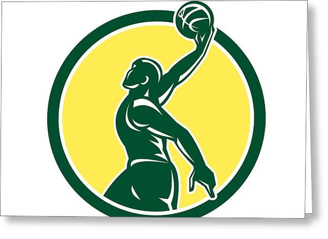 Basketball Player Dunk Ball Circle Retro Greeting Card