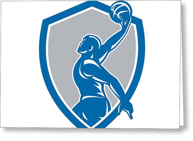 Basketball Player Dunk Ball Shield Retro Greeting Card by Aloysius Patrimonio