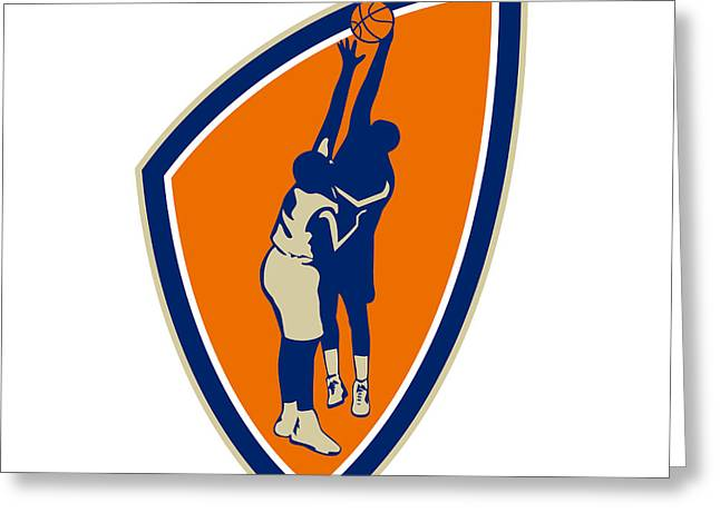 Basketball Player Dunk Block Ball Shield Retro Greeting Card by Aloysius Patrimonio