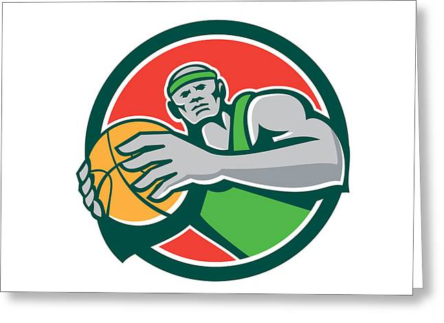 Basketball Player Holding Ball Circle Retro Greeting Card