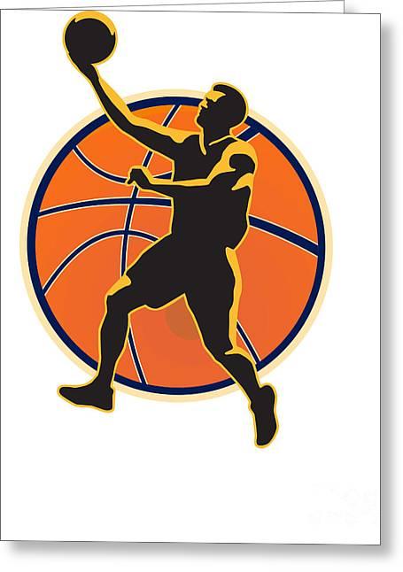 Basketball Player Lay Up Ball Greeting Card