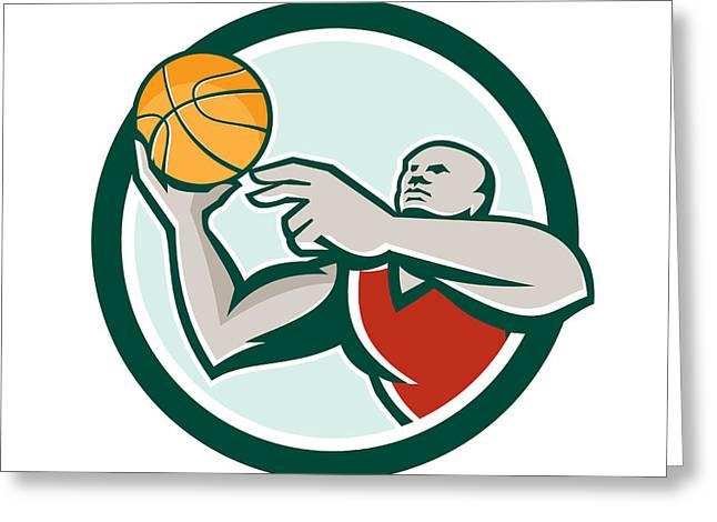 Basketball Player Lay Up Ball Circle Retro Greeting Card