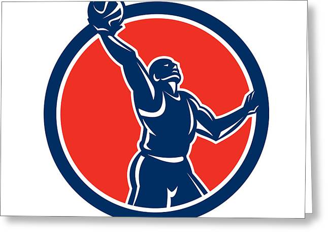 Basketball Player Rebounding Lay-up Ball Circle Greeting Card
