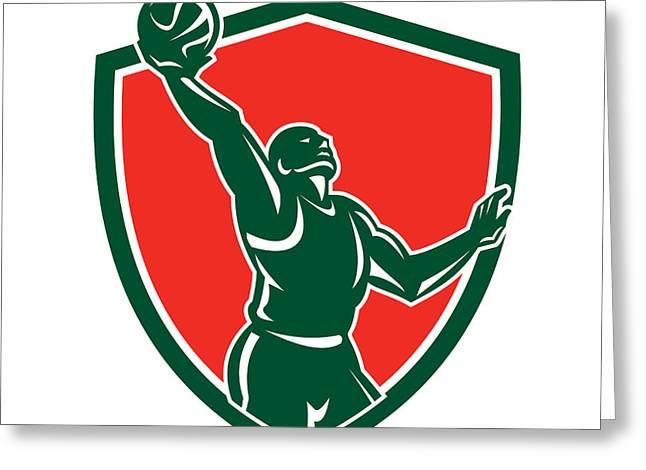 Basketball Player Rebounding Lay-up Ball Shield Greeting Card by Aloysius Patrimonio