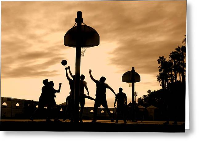 Basketball Players At Sunset Greeting Card
