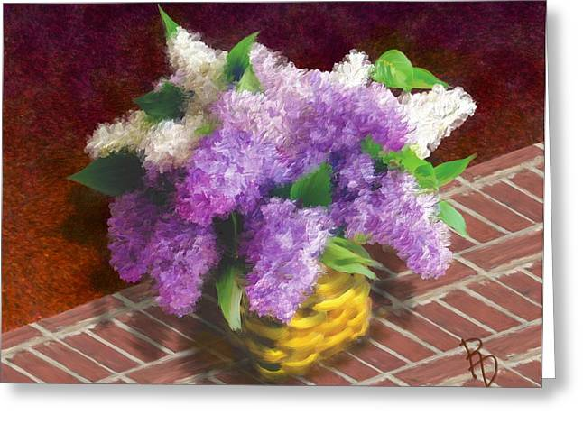 Basketful Of Lilacs Greeting Card