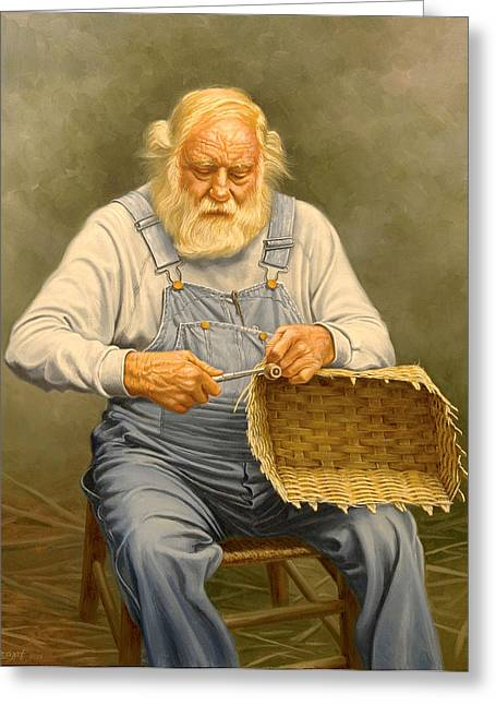 Basketmaker  In Oil Greeting Card