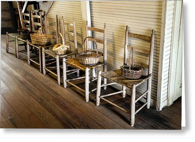 Baskets On Ladder Back Chairs Greeting Card