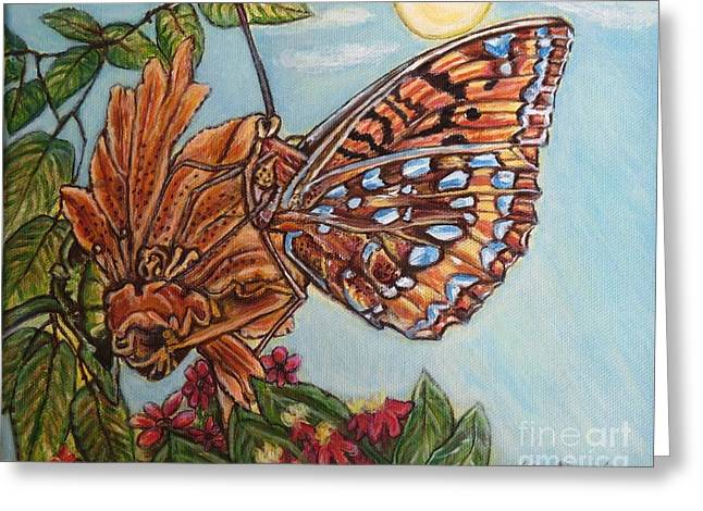 Basking In The Warmth Of The Sun In A Tropical Paradise Painting Greeting Card by Kimberlee Baxter