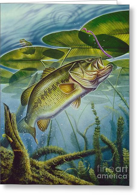 Bass And Frog Greeting Card by Jon Q Wright