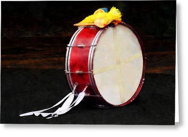 Music Greeting Cards - Bass Drum at Parade Greeting Card by Susan Savad