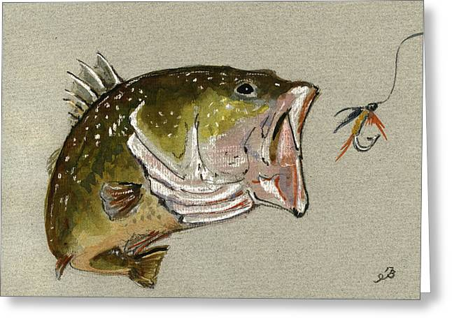Bass Fish Fly Greeting Card