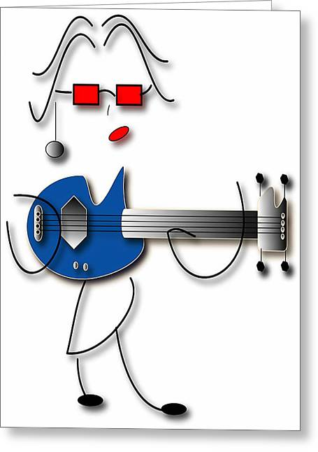 Greeting Card featuring the digital art Bass Guitar Girl by Marvin Blaine