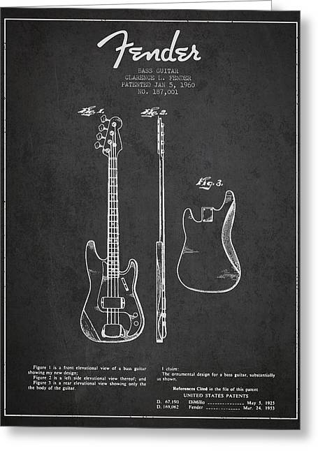 Bass Guitar Patent Drawing From 1960 Greeting Card by Aged Pixel
